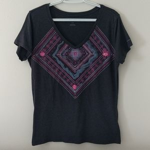Columbia women's Large graphic t-shirt gray pink